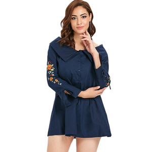 Ships From US,Fast delivery!Plus Size Embroidery Flare Sleeve Shirt Dress Casual Dresses Long Blouses