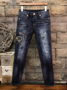 Wholesale Top Quality Original Design Men s Unique Personality Slim Jeans Leopard Skull Embroidery Pattern Jeans Motorcycle Jeans