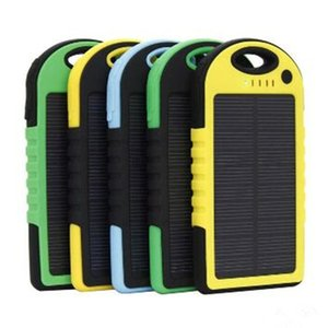 Wholesale 5000mAh Solar power Charger and Battery Solar Panel waterproof shockproof Dustproof portable power bank for Mobile Cellphone iphone NEW