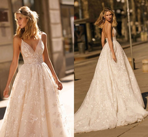 New Design 2020 Berta Wedding Dresses Lace Applique A Line Spaghetti Straps Backless Bridal Gowns Custom Made on Sale