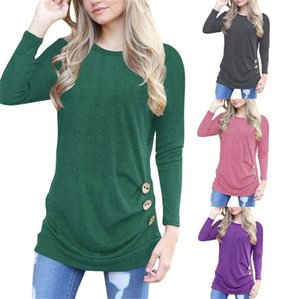 Wholesale Women Bat T Shirt Round Collar Button Mulitcolor Polyester Fiber Long Sleeves Shirts Autumn Fashion Home Clothing