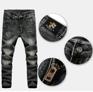 Wholesale ZHENG PIN Fashion designer men s elastic embroidered jeans men s wear retro embroidered fashion pants size