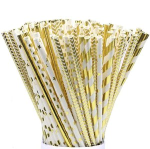 Wholesale gold striped straws resale online - Hot Gold stamping drink paper straws Eco friendly Chevron patterns Striped Polka Dot Stars Drinking Paper Straw for party favor pack