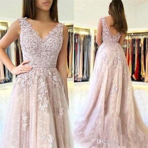 Wholesale tulle mother dresses resale online - 2019 Lilac V Neck Evening Dresses A Line Low zipper Back Appliques Tulle Floor Length Mother Dress Formal Prom Gowns Plus Size BC1726