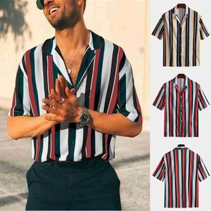 Wholesale 2019 New Men s Summer Fashion Tops Shirts Casual Striped Pattern Printing Tee Shirt Short Sleeve Top Hauts pour hommes