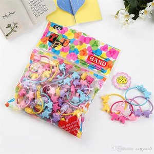 Wholesale 50pcs bag Small Cartoon Bears Flowers Rabbit Star Child Baby Kids Ponytail Holders Hair Accessories For Girl Rubber Band Tie Gum