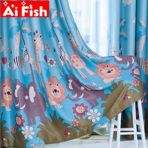Wholesale Korean Cartoon Lion Forest Print Curtains Fabric Boy s Bedroom Child Window For Tulle Curtains for Living Room Panels AP332