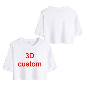 Wholesale customizing t shirts resale online - CJLM Customized Short T Shirts Sumer Tops Women Personalized Picture Crop Tshirt Print Anime Skull D T shirt