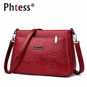 Wholesale 2019 Women Messenger Bags Small Leather Shoulder Bag Female Sac A Main Vintage Bags For Girls Envelope Flower Crossbody Bag