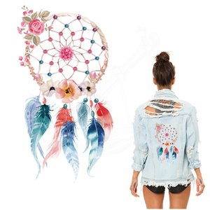 Wholesale New flower feathers printed Patch for clothing DIY T shirt Sweater Heat Transfer cm iron on patches