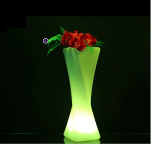 Wholesale 50cm height rechargeable led Luminous flower vase plastic holders Outdoor waterproof Glowing plant Pots furniture Planter Lamp RGB color