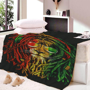 Wholesale lion Wool Plush Blanket Super Comfortable Fabric Thin Blanket Spring and Autumn Shawl Beach Towel Bed Fluffy