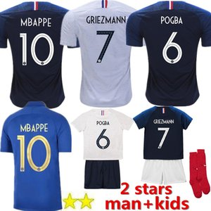 Wholesale 100th NEW MBAPPE GRIEZMANN POGBA men stars Soccer jersey Navy Football LEMAR shirts Equipe coupe girl kids sock maillot de foot kit