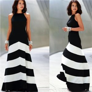 Wholesale Nicely Long Evening dress Black white striped maxi dress women backless dress Sexy Ladies Stripes summer dresses