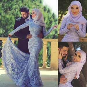 Dubai Muslim mermaid Evening Dresses Gorgeous Arabic High Neck Long Sleeve Mermaid Sexy Party formal Prom Dress Gowns Vestidos Exquisite on Sale