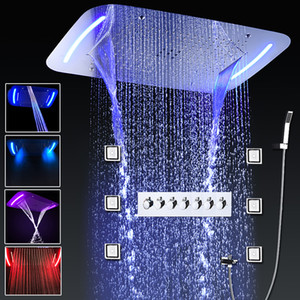 Luxury Complete Shower Faucet Set Thermostatic LED Concealed Ceiling Large Rain Waterfall Showerhead High Flow Massage Top Shower Body Jets