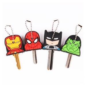 Wholesale Cute Super Hero Anime Key Cover Cap Silicone Spiderman Batman Hulk Keychain Ring Women Porte Clef Iron Man Key Chain New exotic