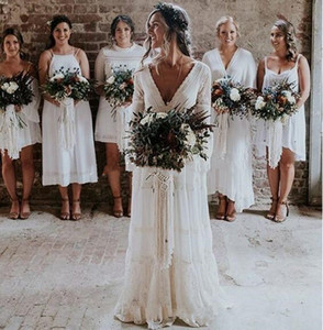 Wholesale 2019 New Bohemian Wedding Dresses V Neck Long Sleeve Lace Sweep Train Beach Boho Garden Country Bridal Gowns robe de mariée Plus Size