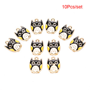 Wholesale 10PCS Enamel Owl Charms For Jewelry Making Metal Pendant For Living Floating Alloy Women DIY Fashion Necklace