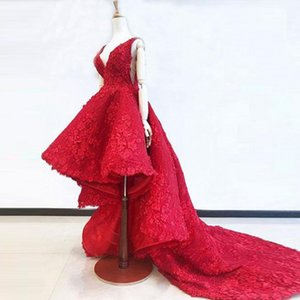 Wholesale Stunning Evening Dresses Appliques abiye Formal Gowns Vestido Longo Appliques Hi Low Evening Dress Red robe de soiree