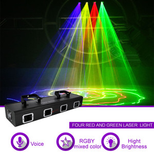 Wholesale 4 Lens RGBY Red Green Blue Mixed Yellow Laser Diode CH DMX Scanner Lights PRO DJ Disco Gig Show Party Stage Lighting Effect RGBY