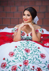 Wholesale Arabic Off The Shoulder Lace Quinceanera Dresses Red White Embroidery Beaded Layered Ruffles Ball Gowns Sweep Train Prom Princess Dresses
