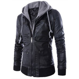 Wholesale New Men s Motorcycle Jacket Casual Slim Fake Two Pieces Faux Leather Coat Zipper Pocket Hooded Jacket Men s PU Leather Jackets