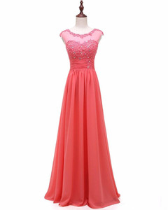 2020 New Appliques Real Photos Cap Sleeves Beaded A Line Bridesmaid Dress Pleat Gown Elegant Vestidos De fiesta on Sale