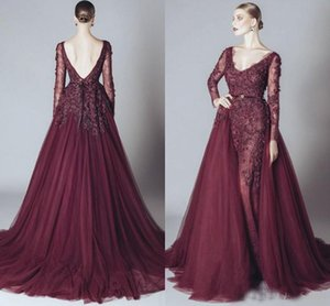 Wholesale dresses fashion elie saab resale online - Elegant Burgundy Celebrity Evening Dresses Backless V Neck Long Sleeves Elie Saab Dress Arabic Party Gowns Cheap Prom Gown