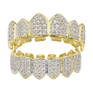 Wholesale 2019 new hiphop hiphop gold braces fangs hot style micro set gold teeth decoration retail and