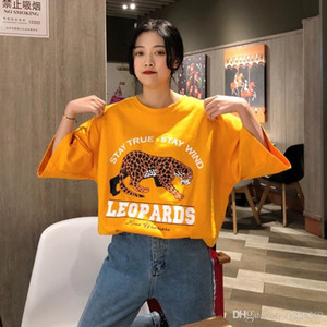 Wholesale Korean fashion wind shirt women s loose trend street clothing leopard print brand cotton letter ladies tshirt