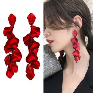 Wholesale Exaggerated earrings new wave summer women long temperament net red Europe and America rose petals big red earrings
