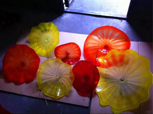 Wholesale Custom Made Handmade Blown Murano Glass Wall Plates Chihuly Style Wedding Decor Glass Wall Light Modern
