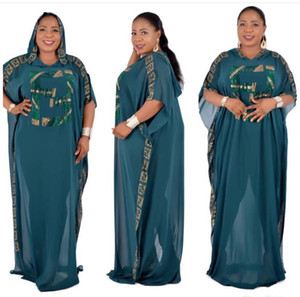 Wholesale Free Ship Dashiki Dress Women Luxury Diamond Beads African Clothes Abaya Dubai Robe Evening Long Muslim Dress Hooded Cape