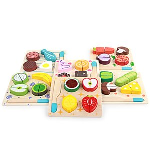 Wholesale Wooden Kitchen Cutting Fruit and Vegetables Board Real Life Toy Models Kid Children Educational Baby Toys Wooden Toys