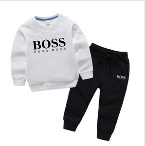 Wholesale 2019 New classic Luxury Designer Baby t shirt jacket Pants Two piec years olde Suit Kids fashion Children s Cotton Clothing Se