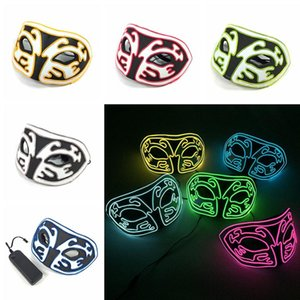 Wholesale Free DHL Halloween Fox Led Masks Glow Scary Mask Light Up Dance Mask for Festival Cosplay Costume Masquerade Parties Colors M556F