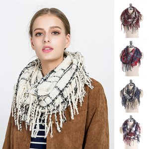 Wholesale 11 styles Girl Plaid scarf Ring Women Dotted Line Grid Scarves Tassel scarves Classic Tartan Wraps Shawl Warm Winter blanket JY742