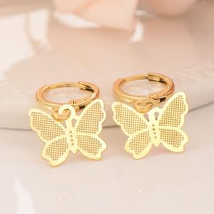 skytalenbao Brand 18 k Solid Fine Yellow gold GF Luxury Butterfly Charm Earring Fashion Gold Women Girl Jewelry Gift pretty