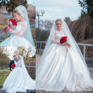Arabic Dubai Ball Gown Wedding Dresses 2020 Sheer Long Sleeves Lace Appliques Beading Satin Court Train Bridal Gowns Plus Size