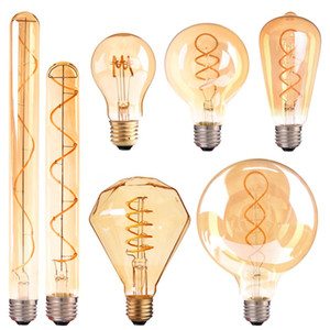 E14 E27 Retro LED Spiral Filament Light Bulb Warm Yellow 220V C35 A60 T45 ST64 T185 T225 G80 G95 G125 Vintage Edison Lamp
