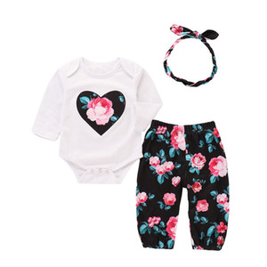 Wholesale INS Toddler Girls Summer Clothing Set Short Sleeve Love Floral Rompers + Pants + Hairbands 3pieces Suits Kids Children Clothing Set for 1-4T