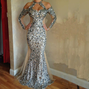 Wholesale Sparkling Silver Evening Pageant Dresses with Long Sleeve 2019 Jewel Keyhole Neck Luxury Crystal Beaded Sequins Mermaid Prom Gown
