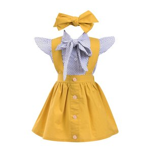 Wholesale Baby Girls Clothing Sets Three-piece Suit Fashion Bow Dot Print Casual Suits Headband Button Onesies Strap Dress