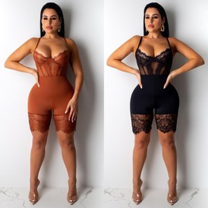 Hottest Sexy Lace Panelled Women Skinny Jumpsuits See Through Spaghetti Neck Backless Sassy Nightclub Jumpsuits Real Images