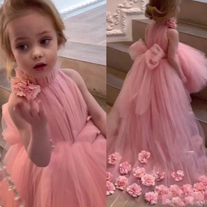 Wholesale Pink High Low Flower Girls Dresses for Wedding and Party High Neck D Flowers Big Bow Toddler Pageant Dress Tulle Kids Prom Gowns
