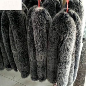 2019 100% Real Natural Fox Fur Black With White Tips Fur Collar for Hood Women Men jackets Sweater Scarves 70cm Fashion Zxx67