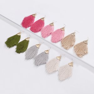 Wholesale Fashion Arrow Tassel Earrings Alloy Cotton National Style Fan Shaped Bohemian Earrings Summer Party Jewelry Women Girls Gift Styles M003F