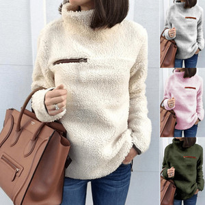 Wholesale 2019 fashion designer women clothes autumn and winter fashion zipper high neck blouses women designer sweaters warm womens designer t shirts