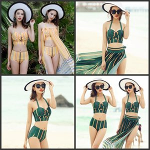 Wholesale Three Piece Suit Bikini With Spun Yarn Stripe Split Halter Swimsuit For Lady Bandage Yellow Green Swimwear Hot Sale krD1
